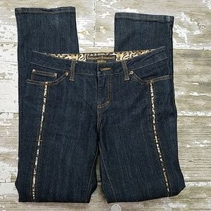 Adorable jeans with cheetah print inset